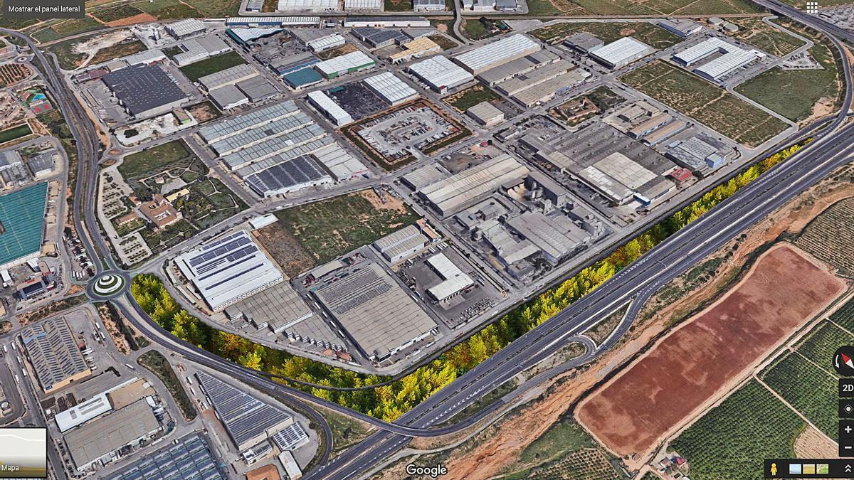 La zona de actuación del proyecto «Riba-roja Respira» en el polígono industrial El Oliveral.   LEVANTE-EMV