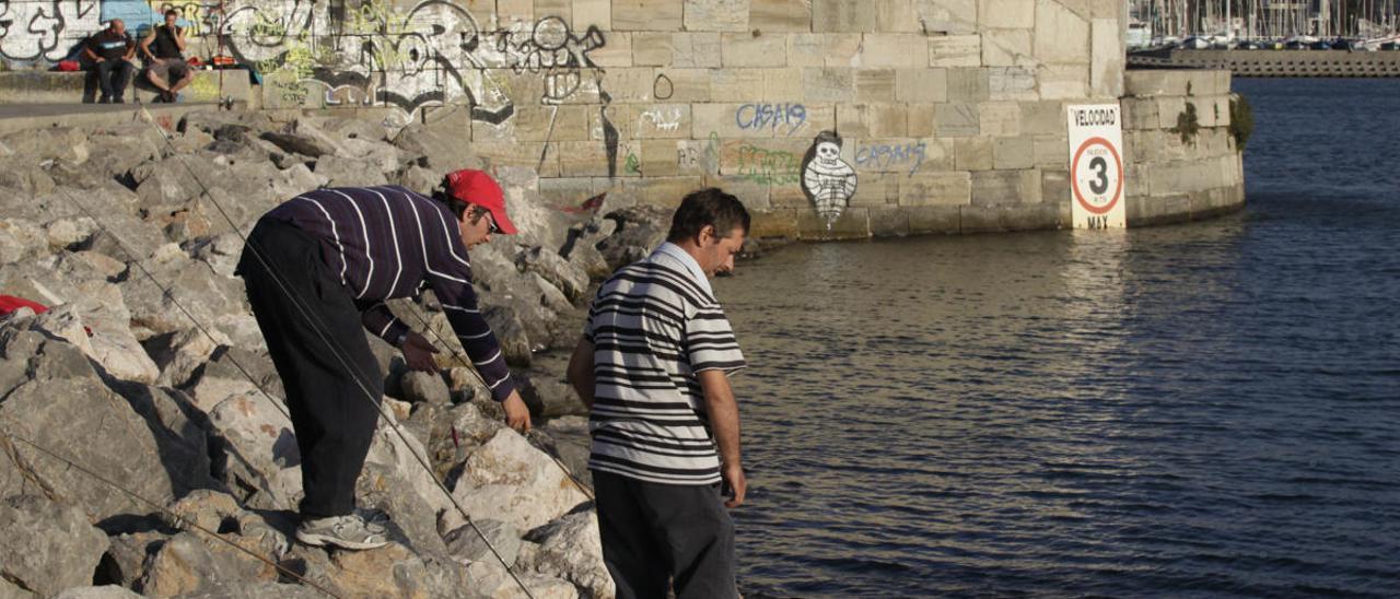 Pescadores deportivos el pasado año en Gijón.