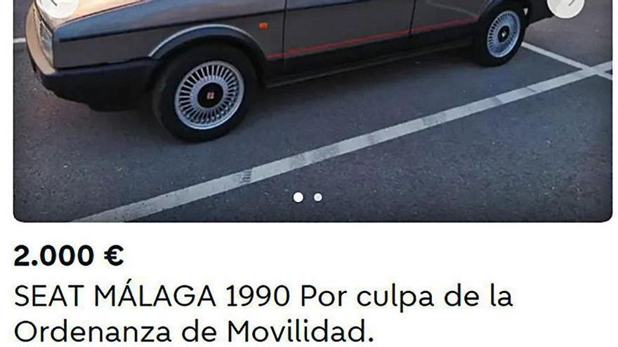 Propietarios de coches antiguos utilizan una web de ofertas de segunda mano para hacer campaña contra la ordenamza de movilidad