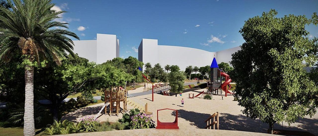 Representación del aspecto del primer gran parque del PAU 2 tras la finalización de las obras