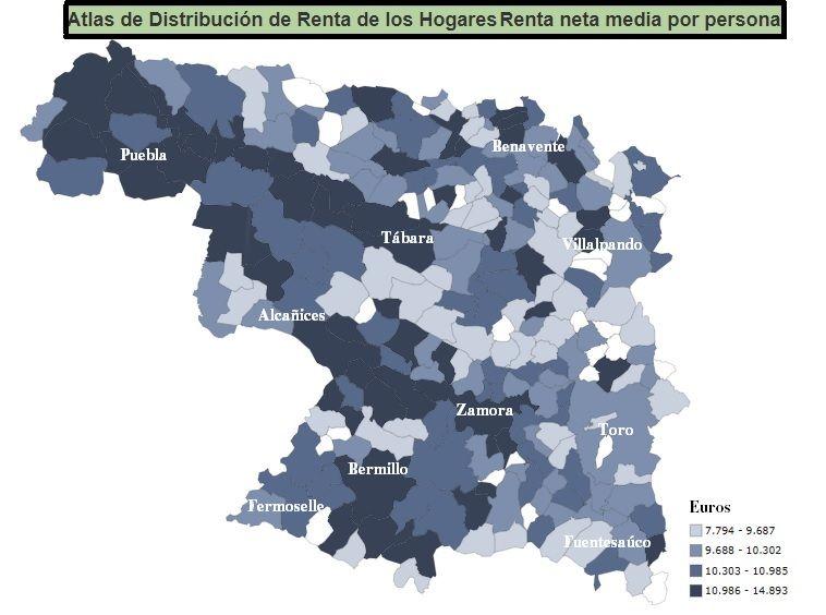 En más oscuro las zonas más ricas, en claro las más pobres de Zamora