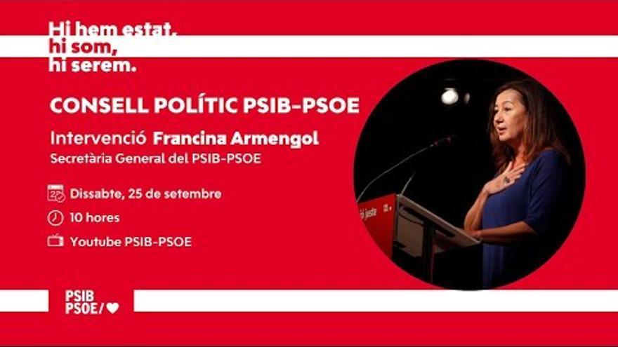 En directo | Armengol interviene en el Consejo Político del PSIB-PSOE