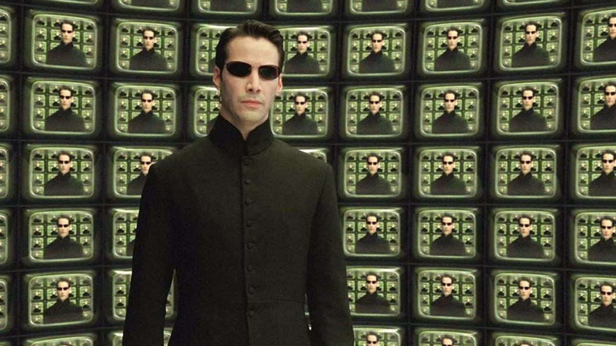 Keany Reeves como Neo en Matrix.