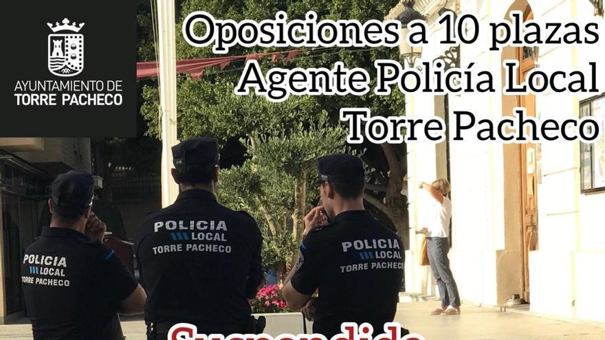 Torre Pacheco suspende la primera prueba de las oposiciones para Policía Local