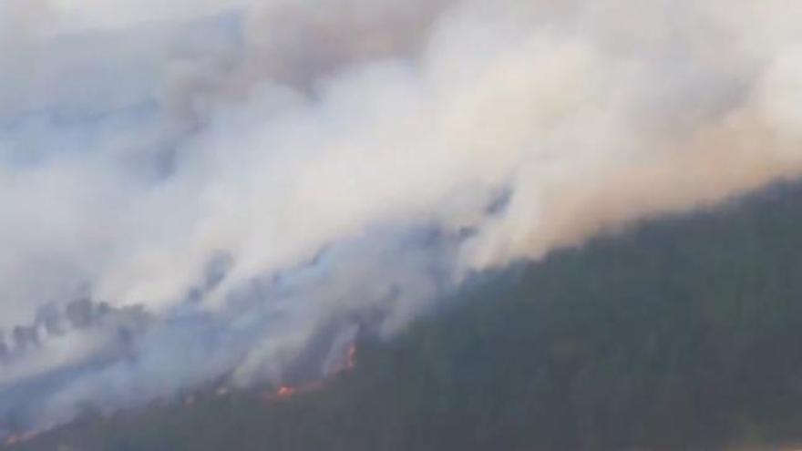 Incendio en los montes de Oímbra
