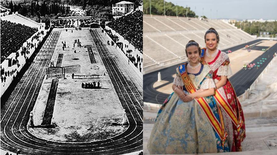 Dos falleras mayores de València en la cuna de los Juegos Olímpicos