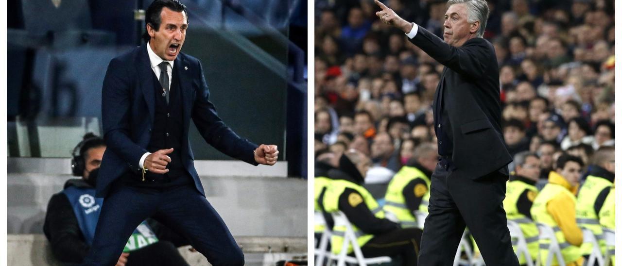 Emery y Ancelotti, el duelo de entrenadores estrategas de Villarreal y Real Madrid.