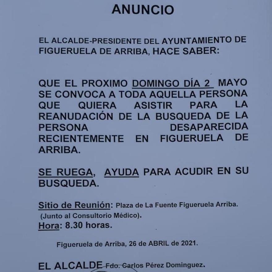 Bando publicado por el Ayuntamiento de Figueruela para anunciar la nueva jornada de búsqueda