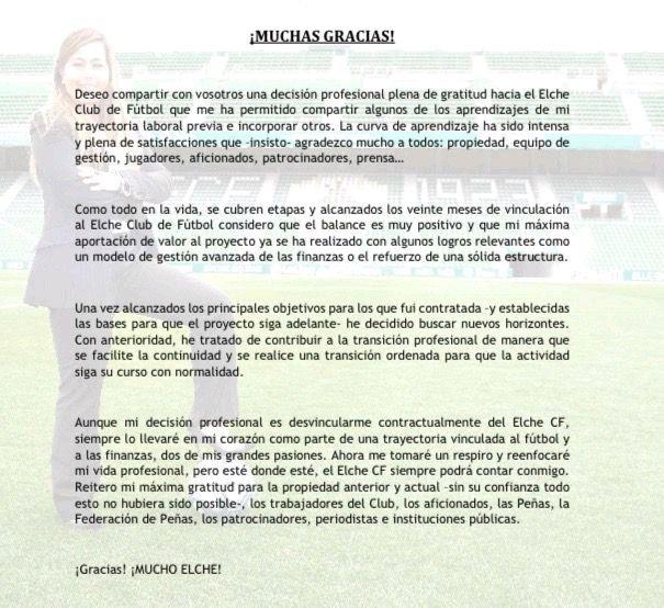 Carta de despedida de Patricia Rodríguez