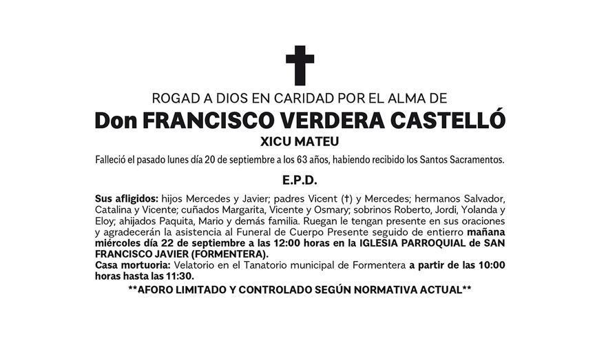 Esquela Francisco Verdera Castelló