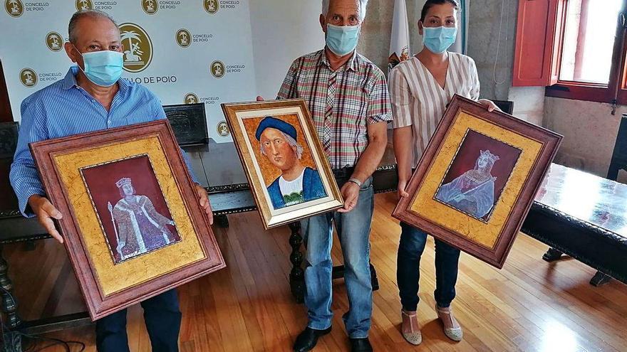 Poio recibe una donación de tres cuadros para la Casa Museo de Colón