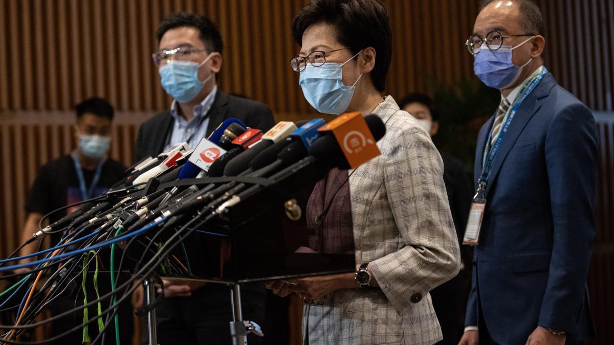 Carrie Lam, Jefa Ejecutiva de Hong Kong, durante una rueda de prensa