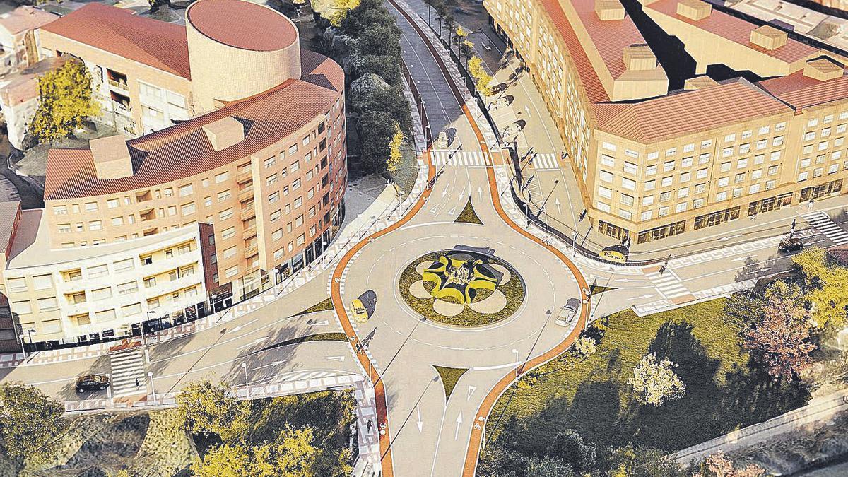 Recreación del proyecto de los nuevos accesos a la Pola, que eliminan la barrera viaria que separa la zona de La Isla del resto del núcleo urbano. | A. I.