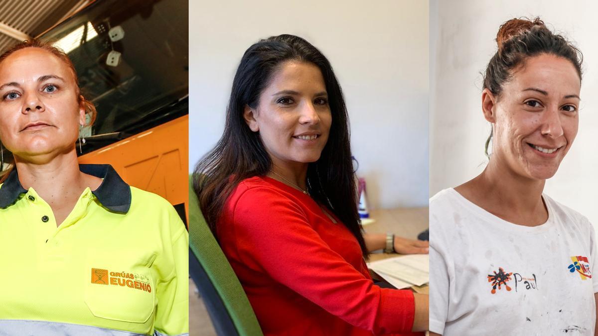 Sofía Martín (gruista, Carmen Serrano (administrativo en una constructora) y María Granado, pintora.