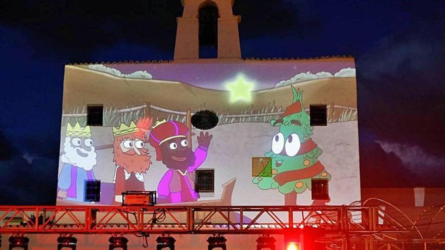 Encendido de luces con música y corto de animación en Sant Josep