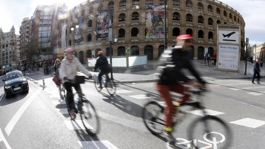 El tramo de la calle Xàtiva del anillo ciclista, el más utilizado