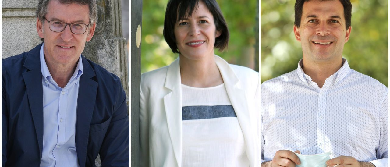 Núñez Feijóo (PP), Ana Pontón (BNG) y Gonzalo Caballero (PSOE)