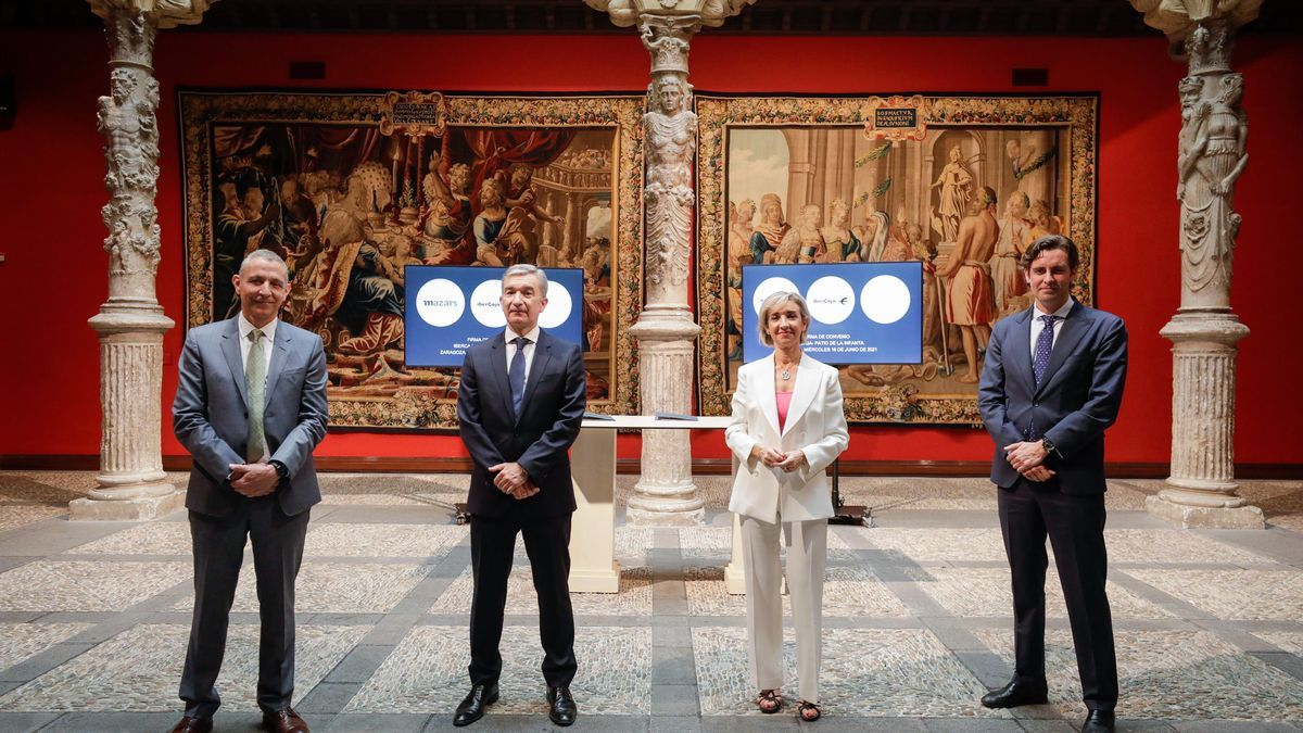 Antoni Bover, presidente de Mazars España; Víctor Iglesias, consejero delegado de Ibercaja Banco; Mª Teresa Fernández, directora del Área de Banca de Empresas de Ibercaja Banco, y Antonio López, consejero delegado de Silo.