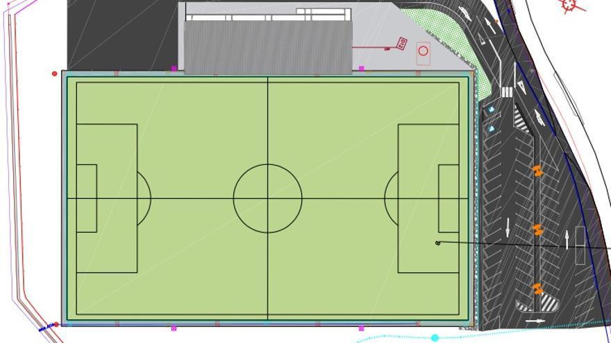 La grada y el aparcamiento del campo  de fútbol de Mera costarán 1,3 millones