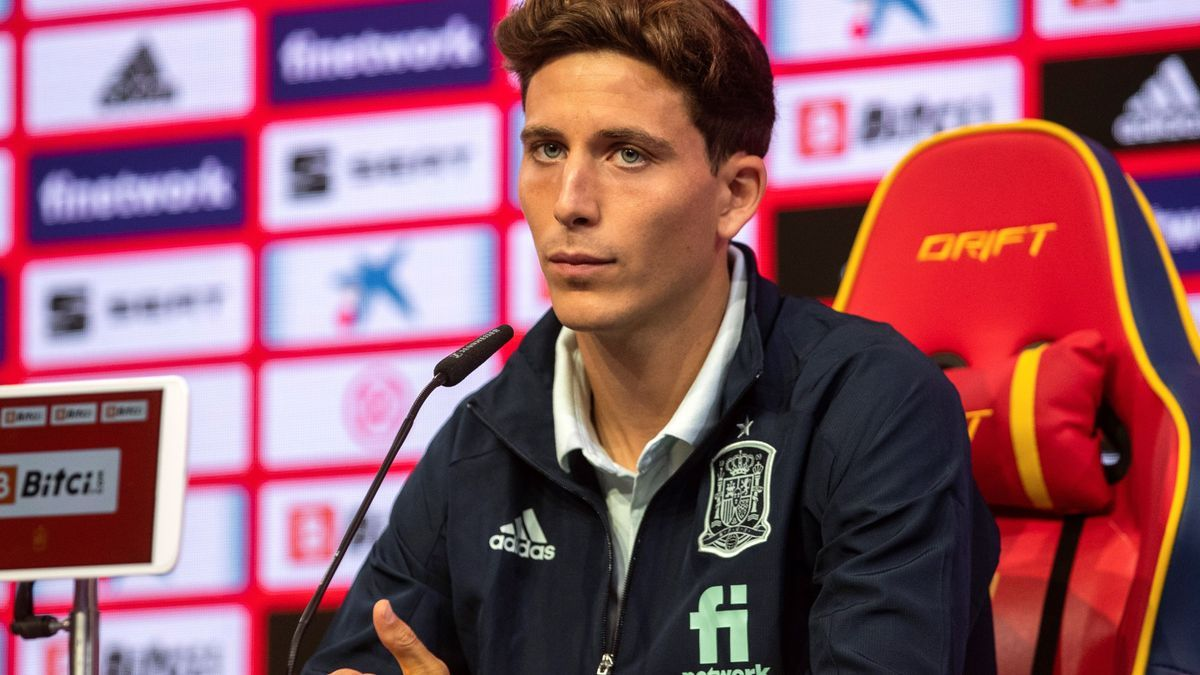 Pau Francisco Torres, jugador del Villarreal, en su comparecencia de este miércoles con la selección española.
