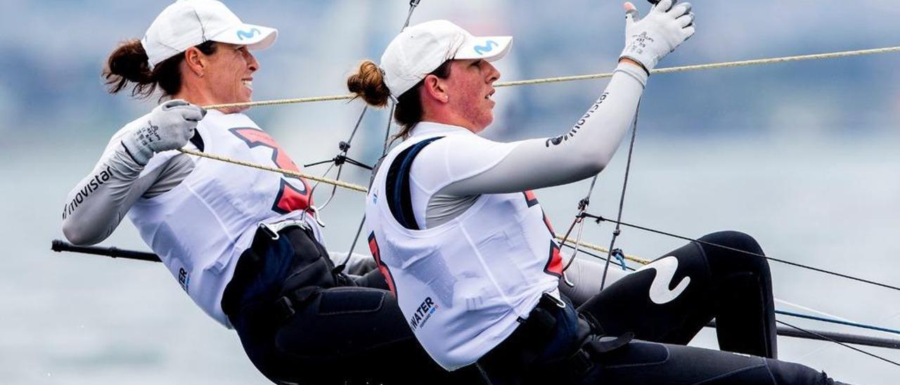 Echegoyen y Barceló, durante una de las regatas del Mundial. // Sailing Energy