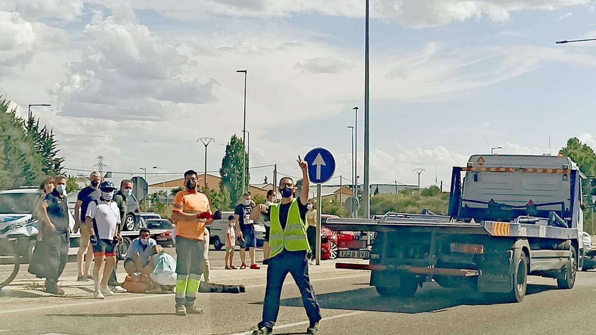 Accidente de tráfico de un agente de la Policía Municipal de Valladolid.
