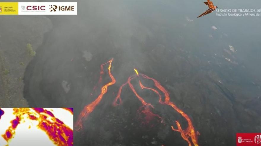 Un dron sobrevuela las coladas del nuevo volcán de La Palma y toma imágenes térmicas