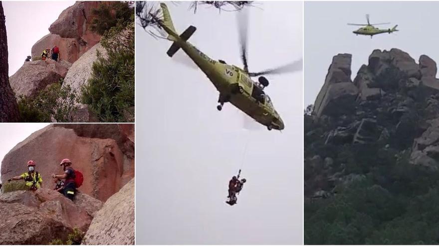 Así ha sido el rescate en helicóptero de una mujer en Les Agulles de Benicàssim