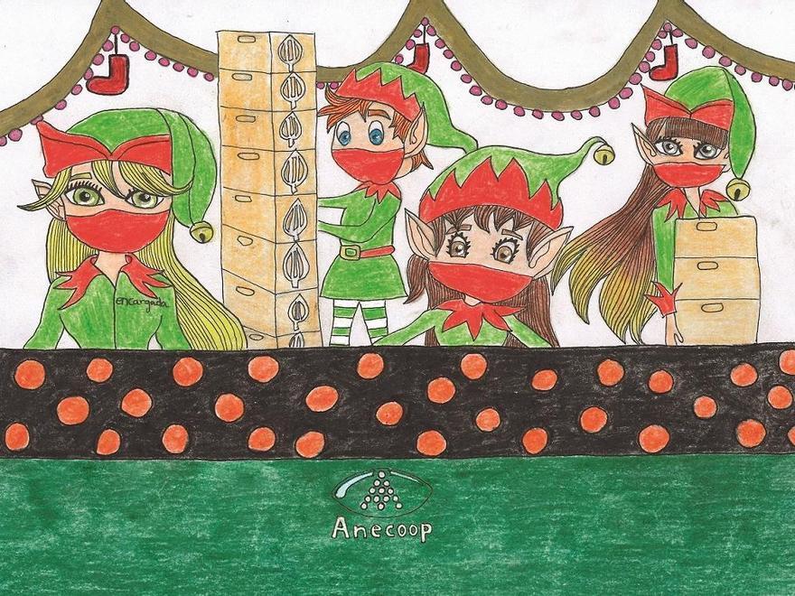 Primer premio en categoría Juvenil del Concurso de Postales Anecoop, obra de Lucía Garrigues Catalán, de 12 años.