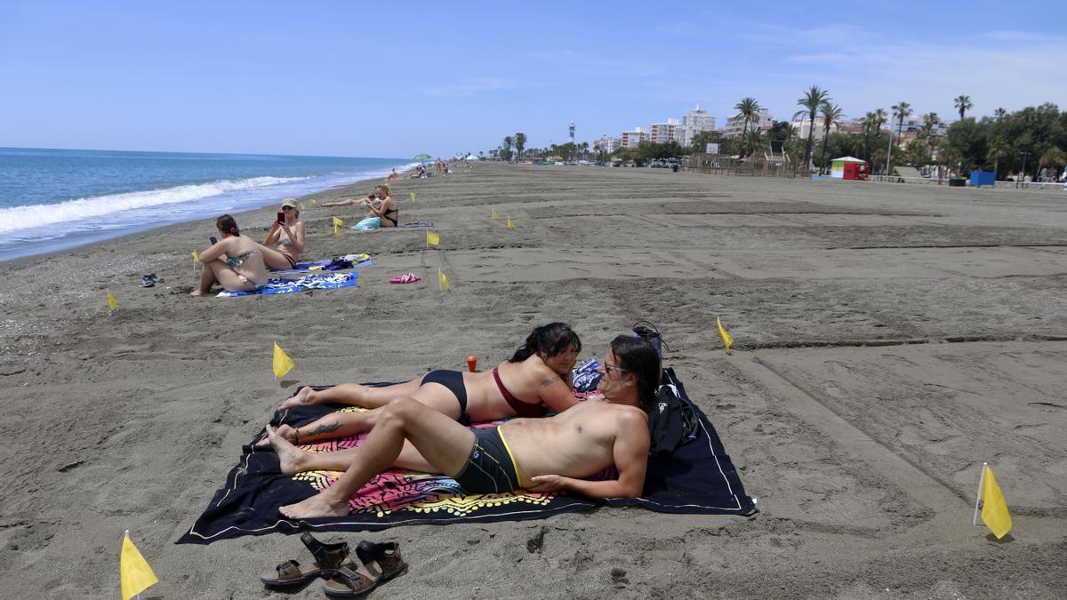 Las playas de Vélez Málaga, parceladas para mantener la distancias.