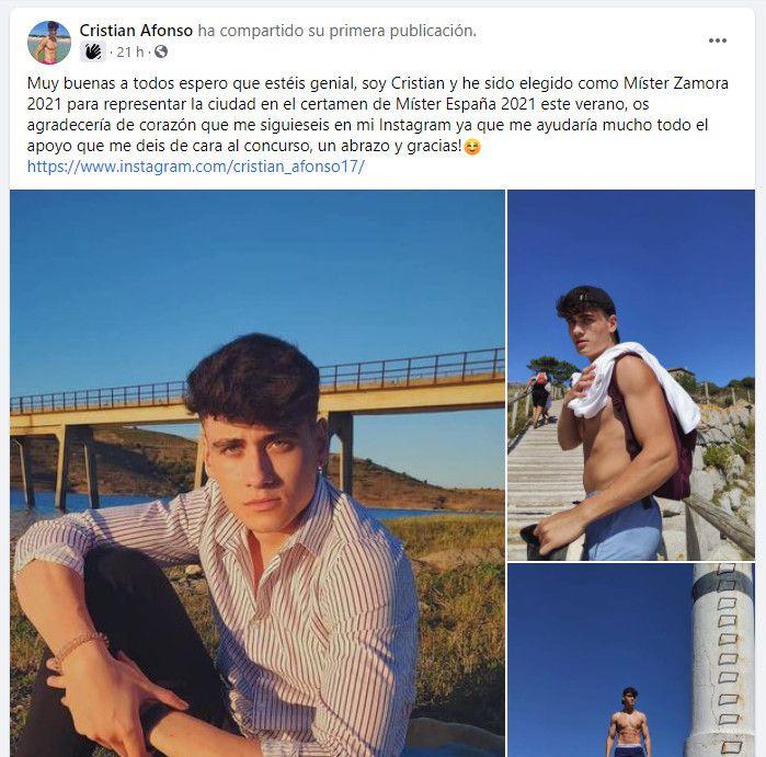 Publicación en Facebook de Cristian Afonso, míster Zamora 2021