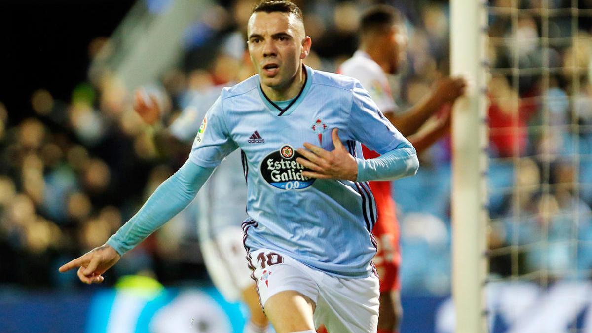 Iago Aspas celebra un gol del Celta en Balaídos