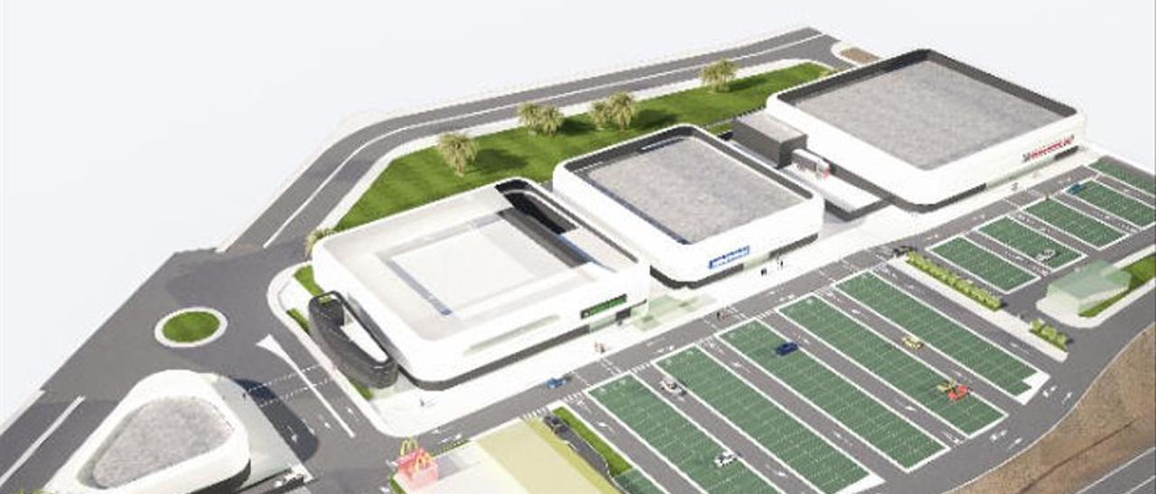 Infografía del proyecto del parque comercial en El Hornillo.