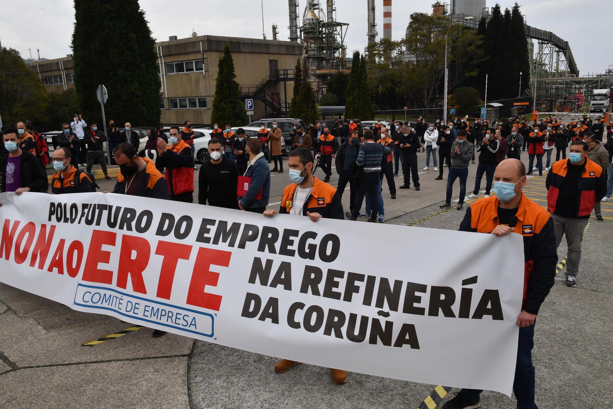 Concentración de trabajadores de la refinería