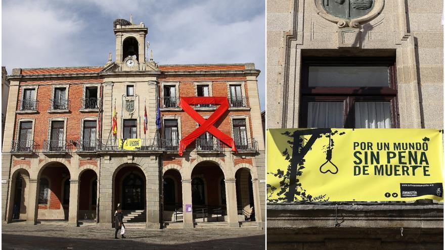 El Ayuntamiento de Zamora, de amarillo y rojo por el sida y contra la pena de muerte