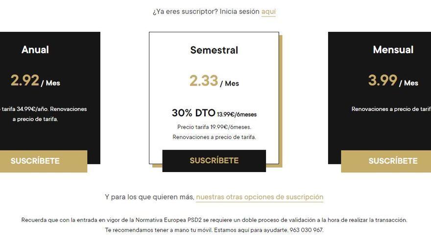 Últimas 30 suscripciones semestrales a los contenidos digitales de INFORMACIÓN por 7 céntimos al día