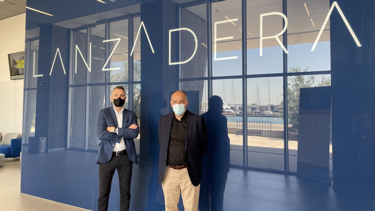Javier Jiménez, director general de Lanzadera, y Javier Tebas, presidente de LaLiga
