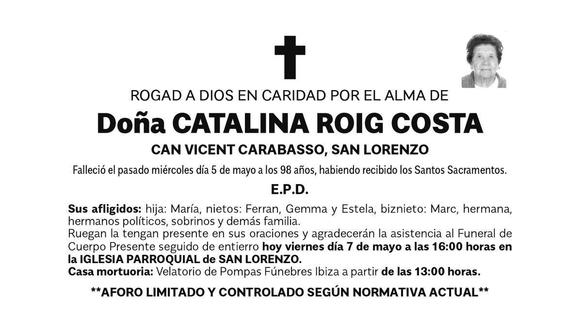 Esquela Catalina Roig Costa