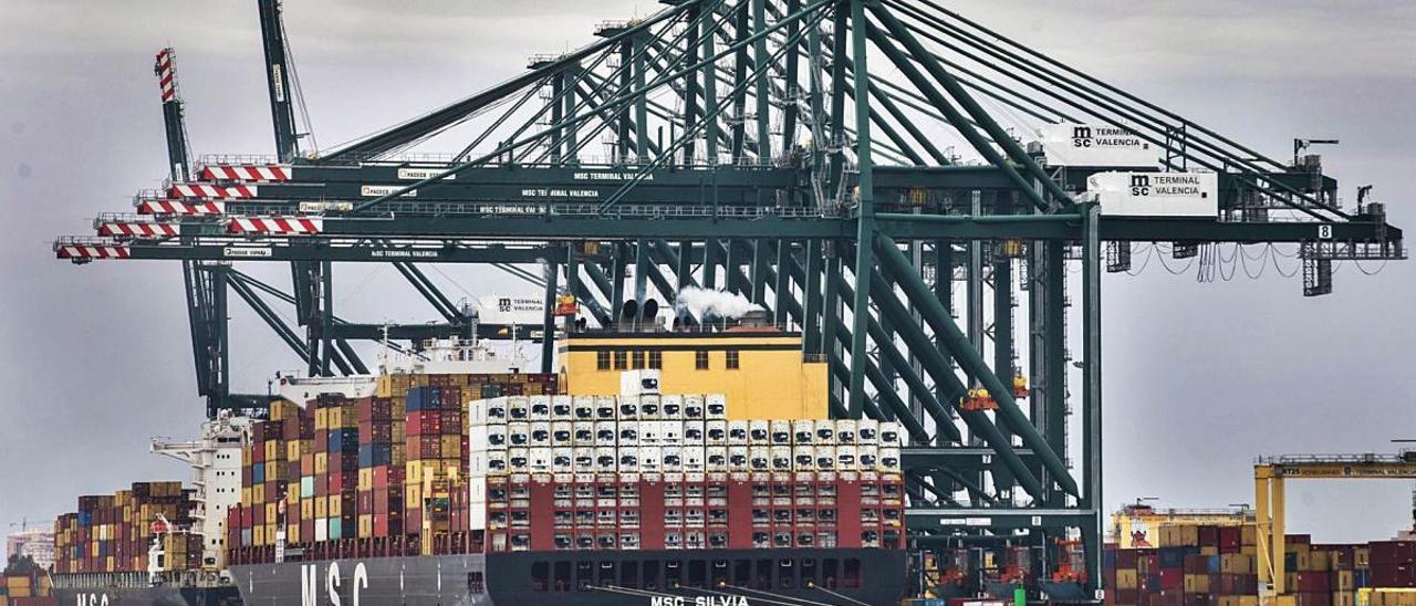 Barcos de la naviera MSC en la terminal de contenedores de CSP Iberian en el Puerto de València.