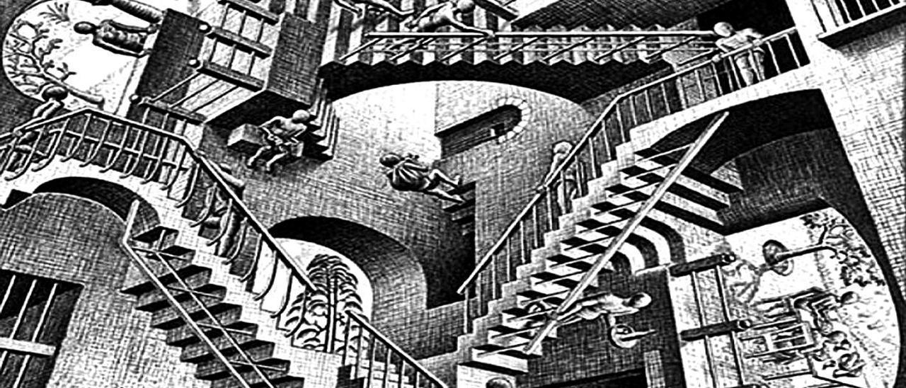 Escalera de Penrose, interpretada por M.C.Escher.