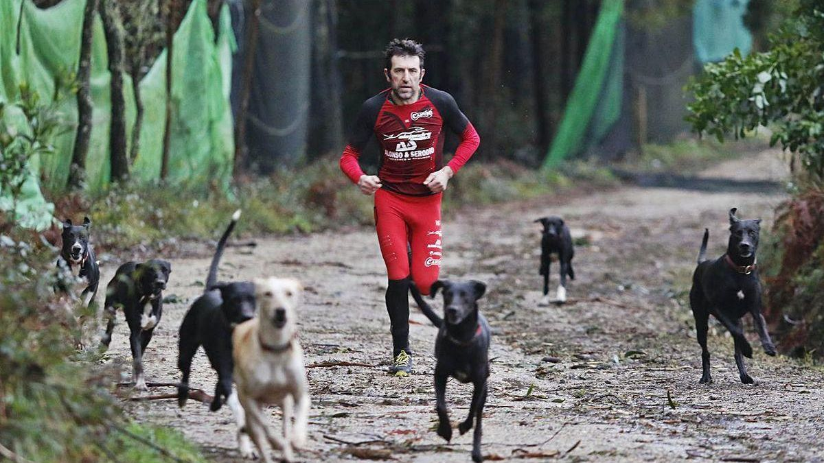Alejandro Gómez, corriendo con sus perros en Zamáns.
