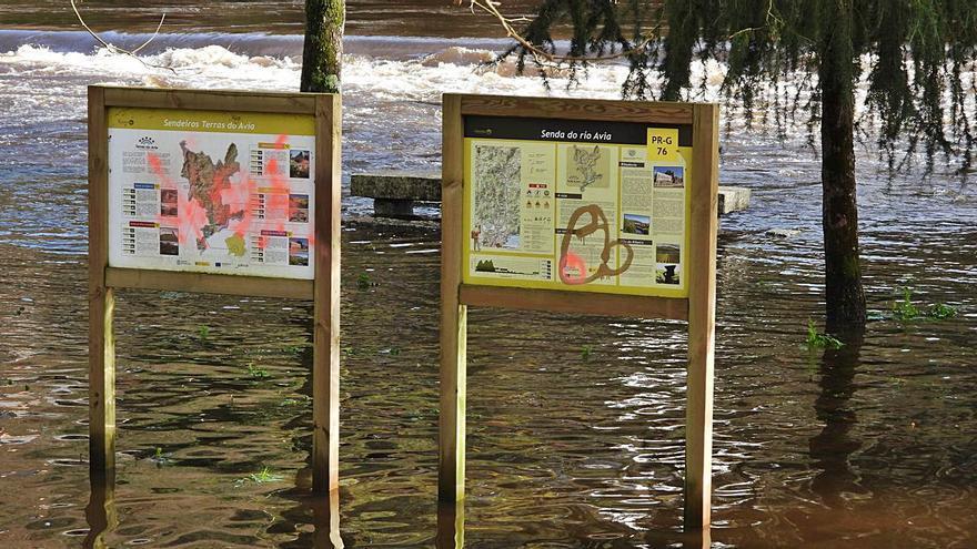 Los ríos Miño y Avia, en niveles elevados en A Peroxa y O Ribeiro