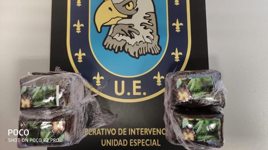 Detenido con medio kilo de hachís en Siete Palmas