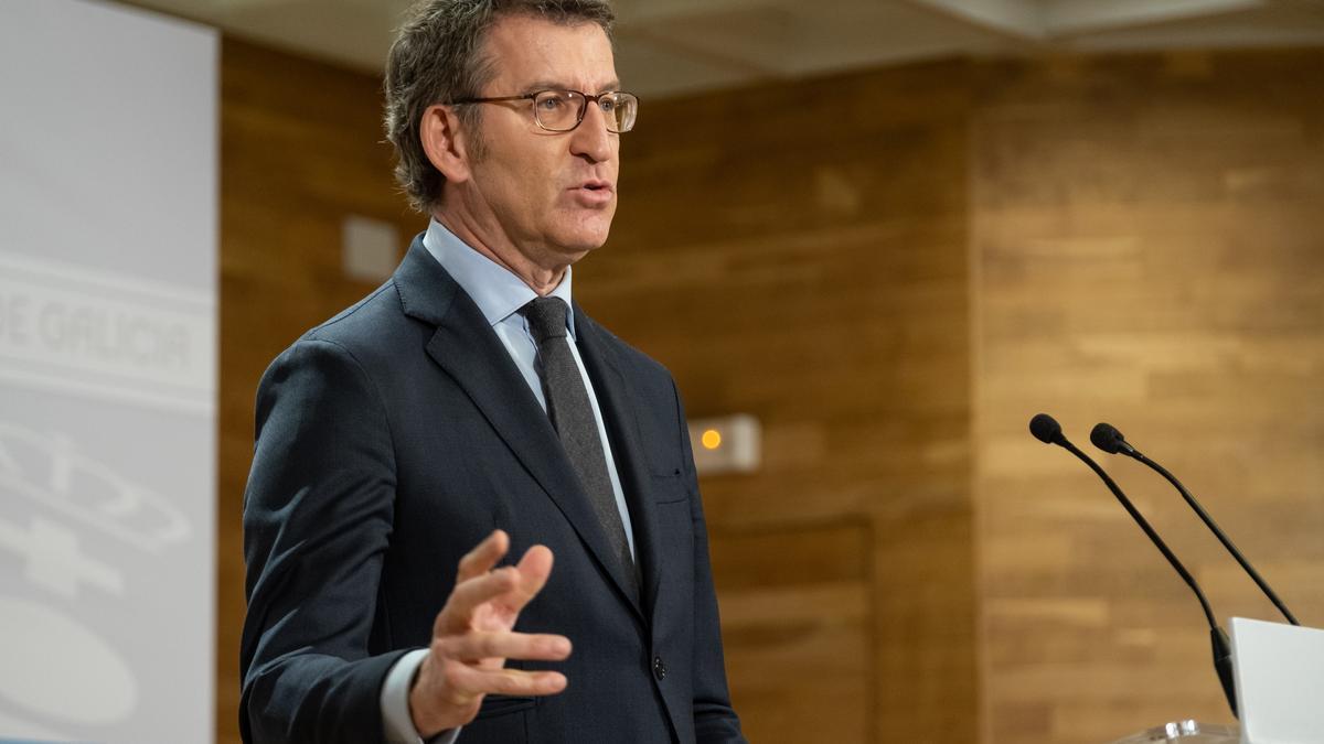 Alberto Núñez Feijóo en rueda de prensa