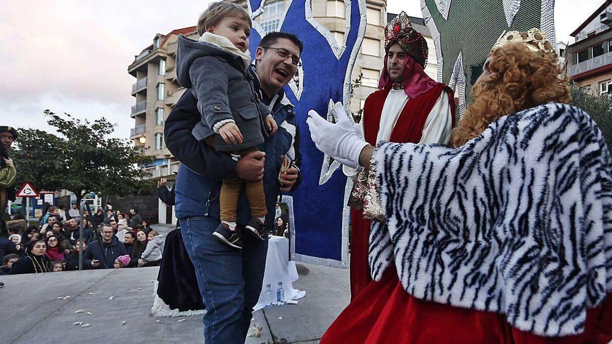 Una anterior recepción a los Reyes Magos en Sanxenxo.