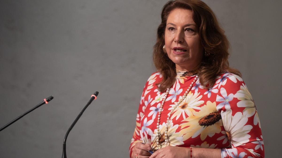 La consejera Rocío Ruiz, tras el Consejo de Gobierno andaluz de este martes.