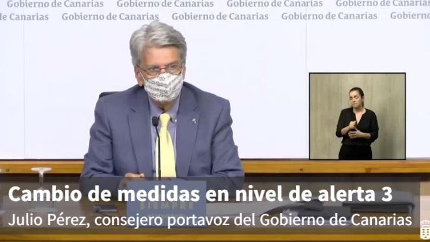 El portavoz del Gobierno de Canarias, Julio Pérez, anuncia cambios en las medidas contempladas en el nivel de alerta 3