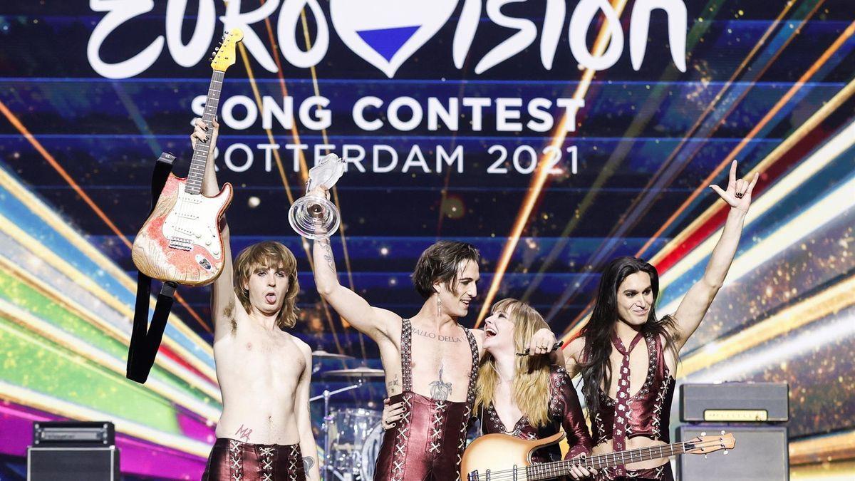 La banda de rock italiana Manskin, ganadora de Eurovisión 2021.