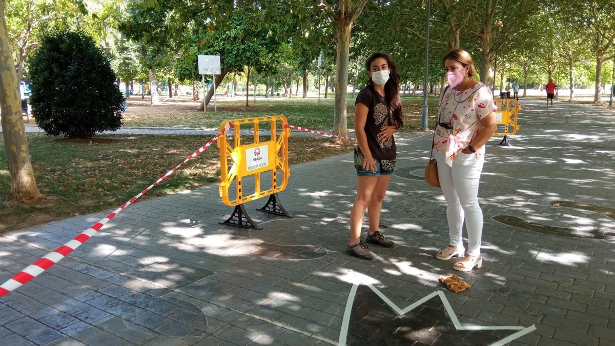 Circuito de psicomotricidad instalado en el parque de las Siete Sillas.
