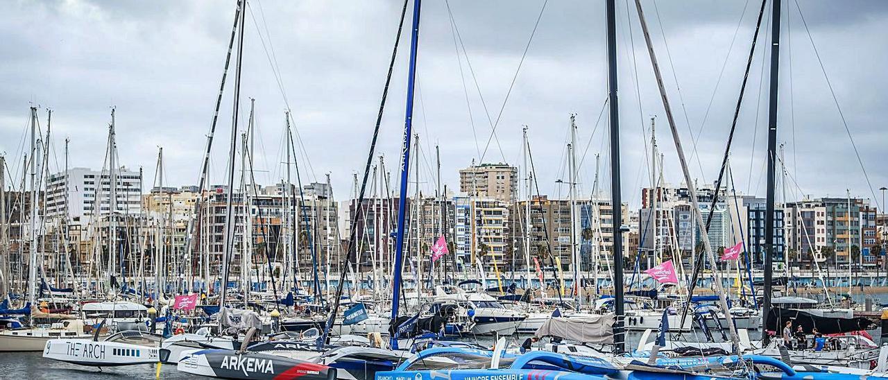 Los trimaranes participantes en la competición, ayer varados en el Muelle Deportivo. | | JOSÉ CARLOS GUERRA